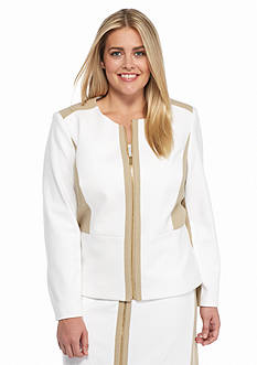 Calvin Klein Plus Size Chevron Textured Jacket