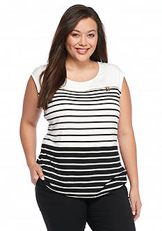 Calvin Klein Plus Size Variegated Stripe Shell