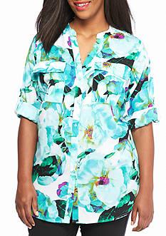 Calvin Klein Plus Size Printed Woven Blouse