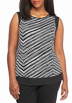 Calvin Klein Plus Size Striped Knit Top