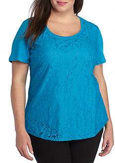Calvin Klein Plus Size Lace Front Top