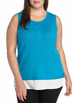 Calvin Klein Plus Size Sleeveless Layered Sweater