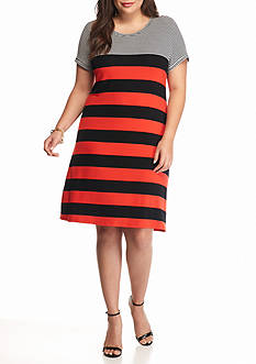 Calvin Klein Plus Size Striped T-Shirt Dress