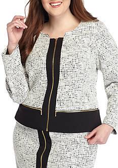 Calvin Klein Plus Size Textured Ponte Jacquard Jacket
