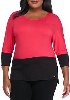 Calvin Klein Plus Size Dolman Colorblock Zipper Sleeve Top