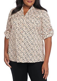 Calvin Klein Plus Size Printed Roll Tab Sleeve Top