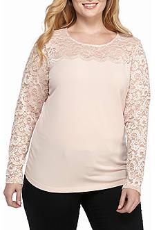 Calvin Klein Women's Plus Lace Blush Blouse