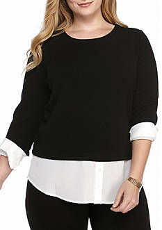 Calvin Klein Women's plus long sleeved textured blouse
