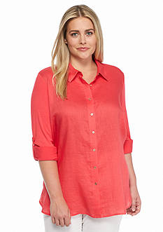 Calvin Klein Plus Size Mixed Materials Tunic