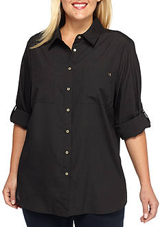 Calvin Klein Plus Size High-Low Collared Top