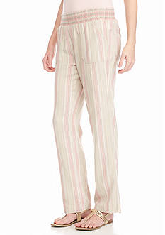 love, Fire Muted Vertical Striped Linen Pants