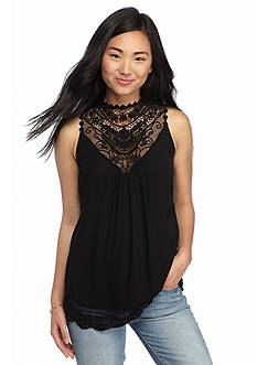 love, FIRE Sleeveless Crochet High Neck Tank