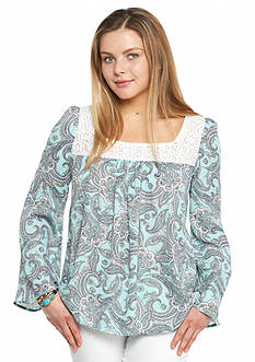 love Fire Printed Lace Neckline Peasant Top