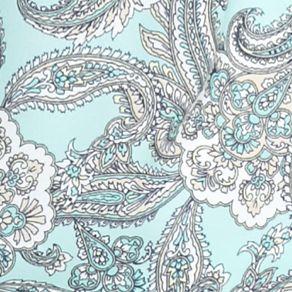 Juniors: Blouses Sale: Aqua/Green love Fire Printed Lace Neckline Peasant Top