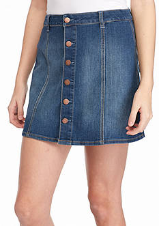 love, FIRE Button Front Denim Skirt