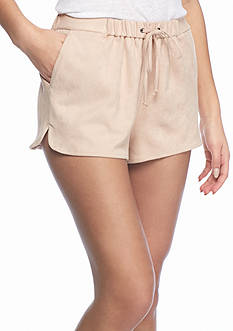 love, Fire Drawstring Suede Shorts