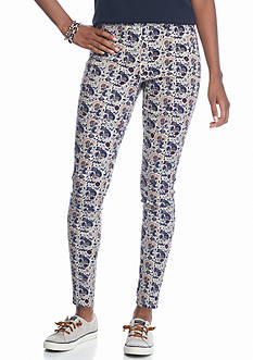 love, Fire Printed Side Zip Ponte Skinny Pants