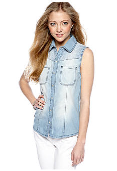 Fire Embellished Sleeveless Chambray Shirt