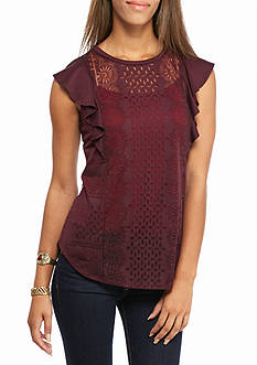 KELLY RENE Flutter Sleeve Burnout Tee