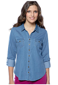 Fire Roll Sleeve Denim Shirt