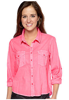 Fire Long Roll Sleeve Neon Button Front Shirt