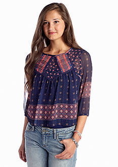 Fire Lace Back Peasant Top