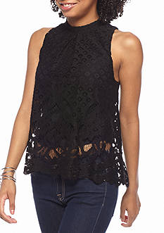 love, Fire High Neck Lace Tank