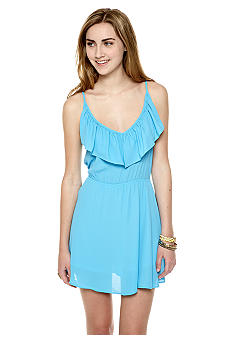 Eight Sixty Solid V-Neck Ruffled Cinch Waist Dress