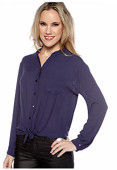 Eight Sixty Long Sleeve Tie Front Blouse