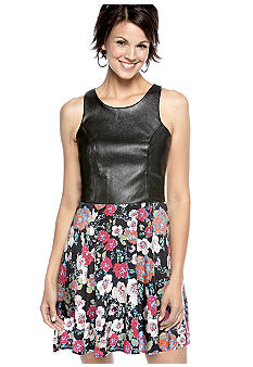 Eight Sixty Alice Floral Faux Leather Dress