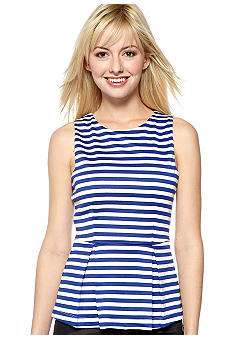 Eight Sixty Stripe Ponte Peplum Top