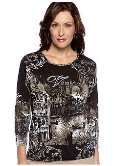 Jane Ashley Venice Mixed Media Top