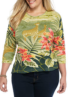 Jane Ashley Plus Size Tropical Giraffe Printed Top