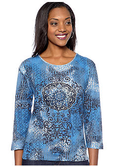 Jane Ashley Center Medallion Printed Top