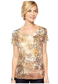 Jane Ashley Scoop Neck Sublime Brown Printed Tee