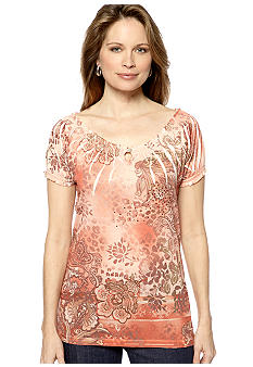Jane Ashley Peasant Key Hole Top
