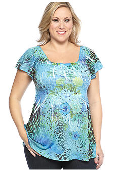 Jane Ashley Plus Size Animal Print Floral Smocked Treatment Knit Top