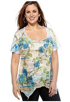Jane Ashley Plus Size Floral Stripe Sharkbite Knit Top