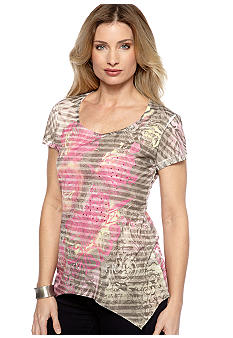 Jane Ashley Shark Bite Stripe Hankercheif Bottom Tee