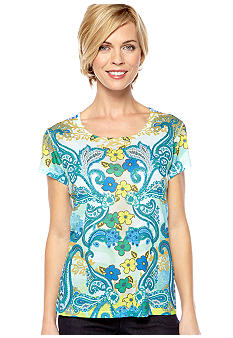 Jane Ashley Scoop Neck Sublime Blue Green Tee