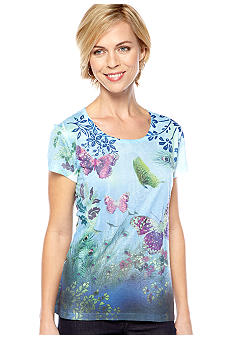 Jane Ashley Scoop Neck Printed Tee