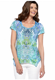Jane Ashley Ikat Print Handkerchief Tee