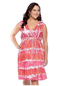 Jane Ashley Plus Size Tribal Print Sublimation Dress