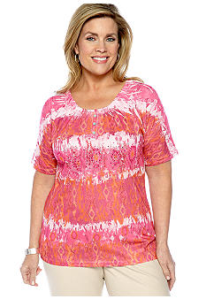Jane Ashley Plus Size Bias Stripe Sublimination Peasant Top