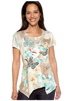 Jane Ashley Short Sleeve Printed and Embellished Tee