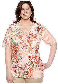 Jane Ashley Plus Size Animal Floral Sublimation Knit Top