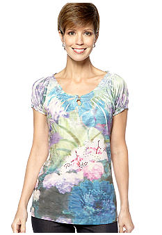 Jane Ashley Peasant Key Hole Sublime Blue Green Top