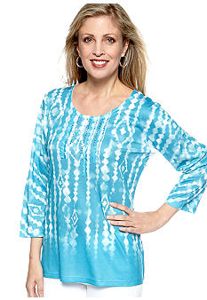 Jane Ashley Jane Ashley Embellished Tie Die Print Top