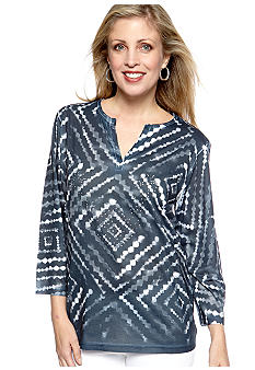 Jane Ashley Jane Ashley Split Neck Tie-Dye Embellished Top
