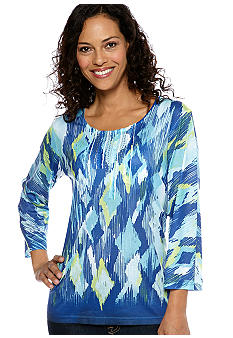 Jane Ashley Jane Ashley Scoop Neck Tie-Dye Print Top
